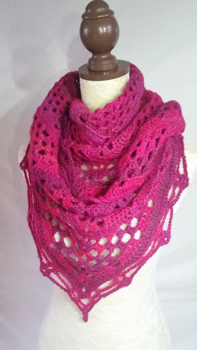 Finished Pink Crocheted Shawl.