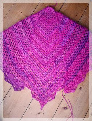 Pink Shawl In Progress